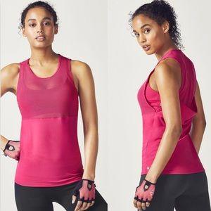 Fabletics Sandy Mesh Drape Back Gym Tank Top Pink